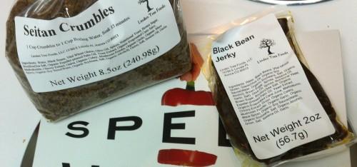 Black Bean Jerky, Seitan Crumbles, Linden Tree Foods
