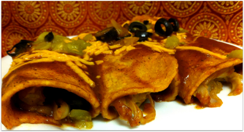 JL Fields Jackfruit and Sweet Potato Enchiladas of JL goes Vegan