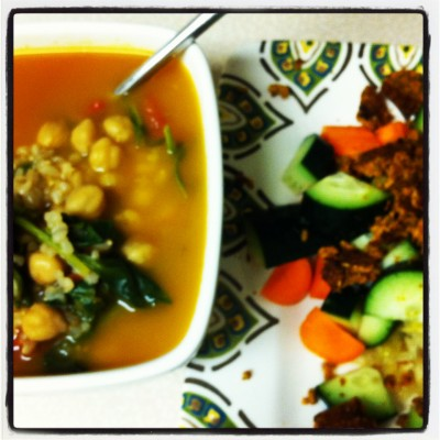 Chickpea and Brown Rice Soup on JL goes Vegan