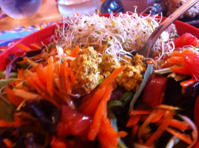 spicy tofu salad at amazing grace