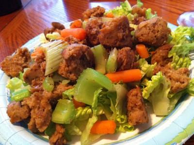 Crumbled Field Roast Sausage Salad on JL goes Vegan
