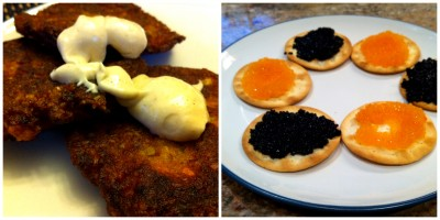 zucchini and carrot latkes, vegan caviar