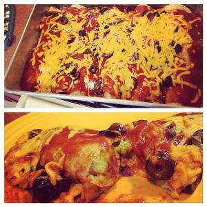 Potato and Pea Enchiladas