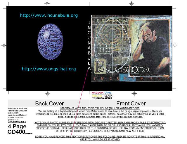 Joseph Matheny- Ongs Hat- Incunabula Artifacts, Materials - cover note