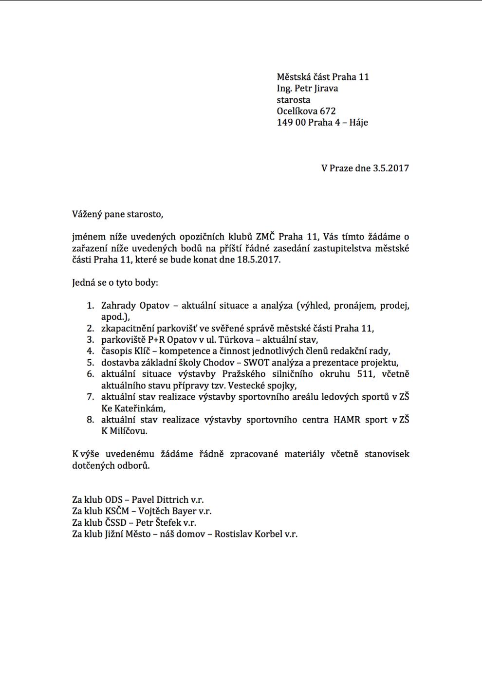 Žádost klubů ODS, ČSSD, JM-ND, KSČM