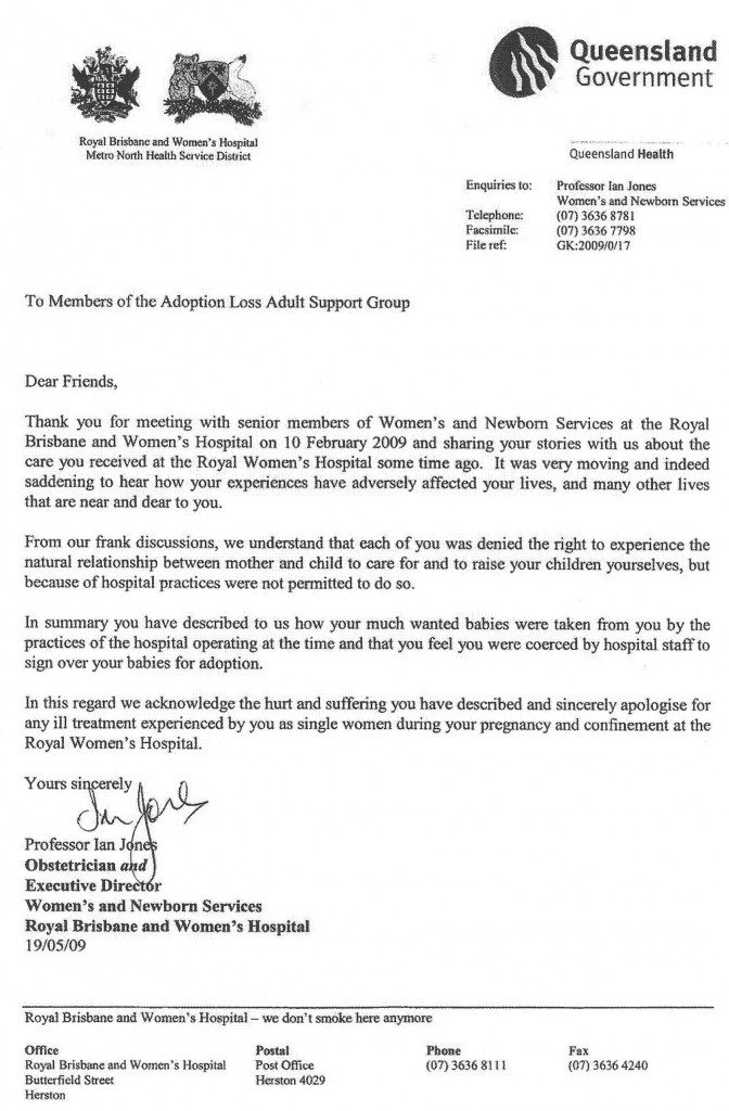 Letter From Brisbane Hospital (Aus) Sets Example \u2013 FORBIDDEN FAMILY - apology letter to family