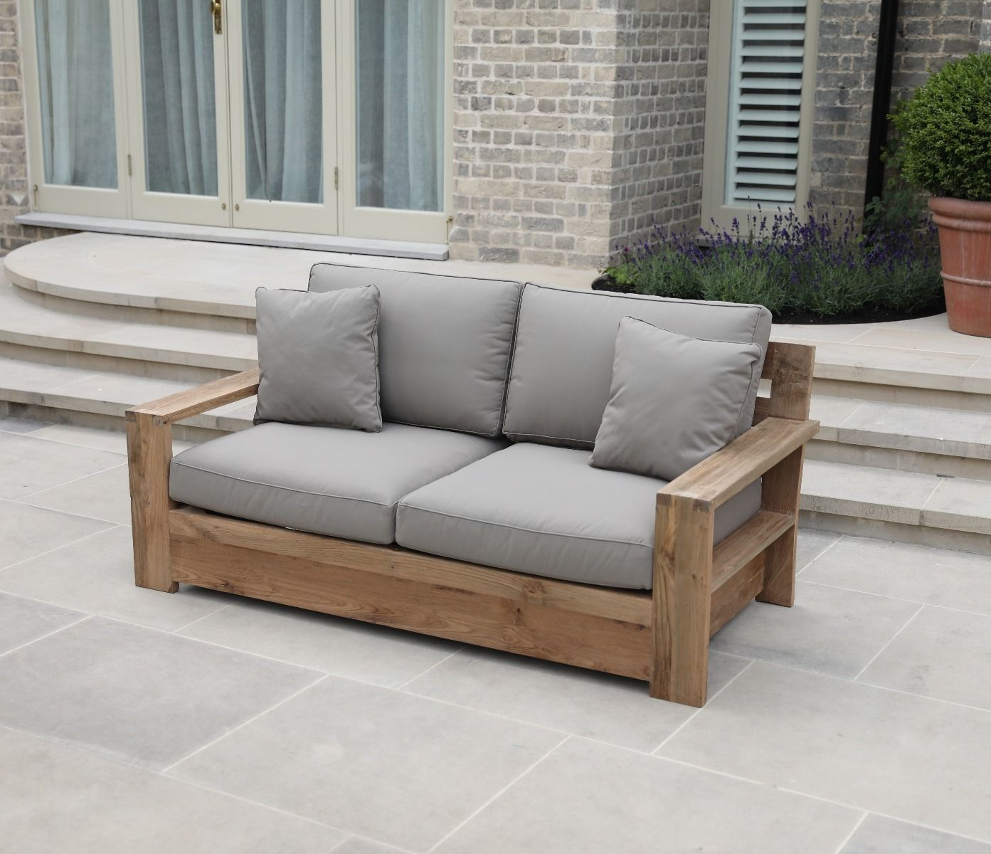 Garden Sofa Two Seater Tuscan Reclaimed Two Seater Sofa