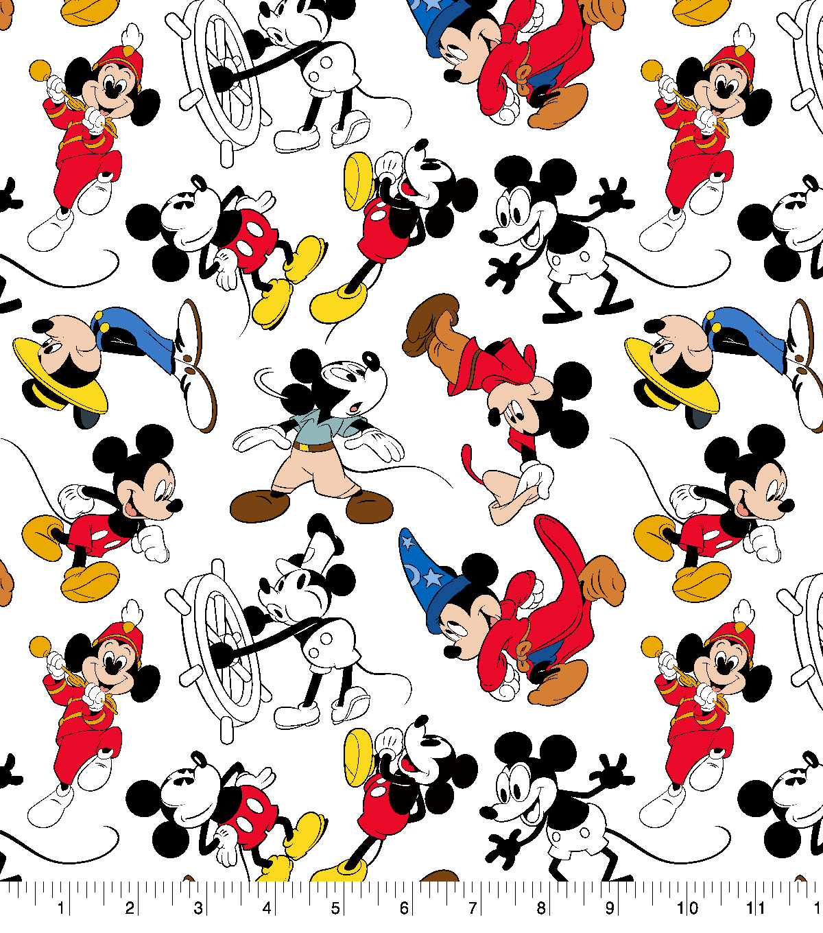 Disney Mickey Disney Mickey Mouse Cotton Fabric Mickey Through The Years