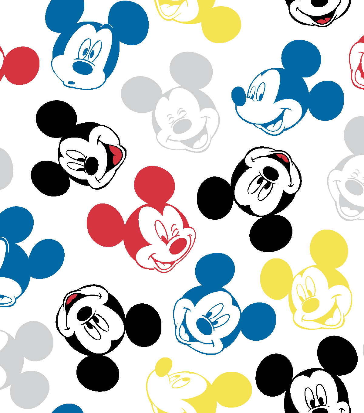 Disney Mickey Disney Mickey Mouse Flannel Fabric Heads