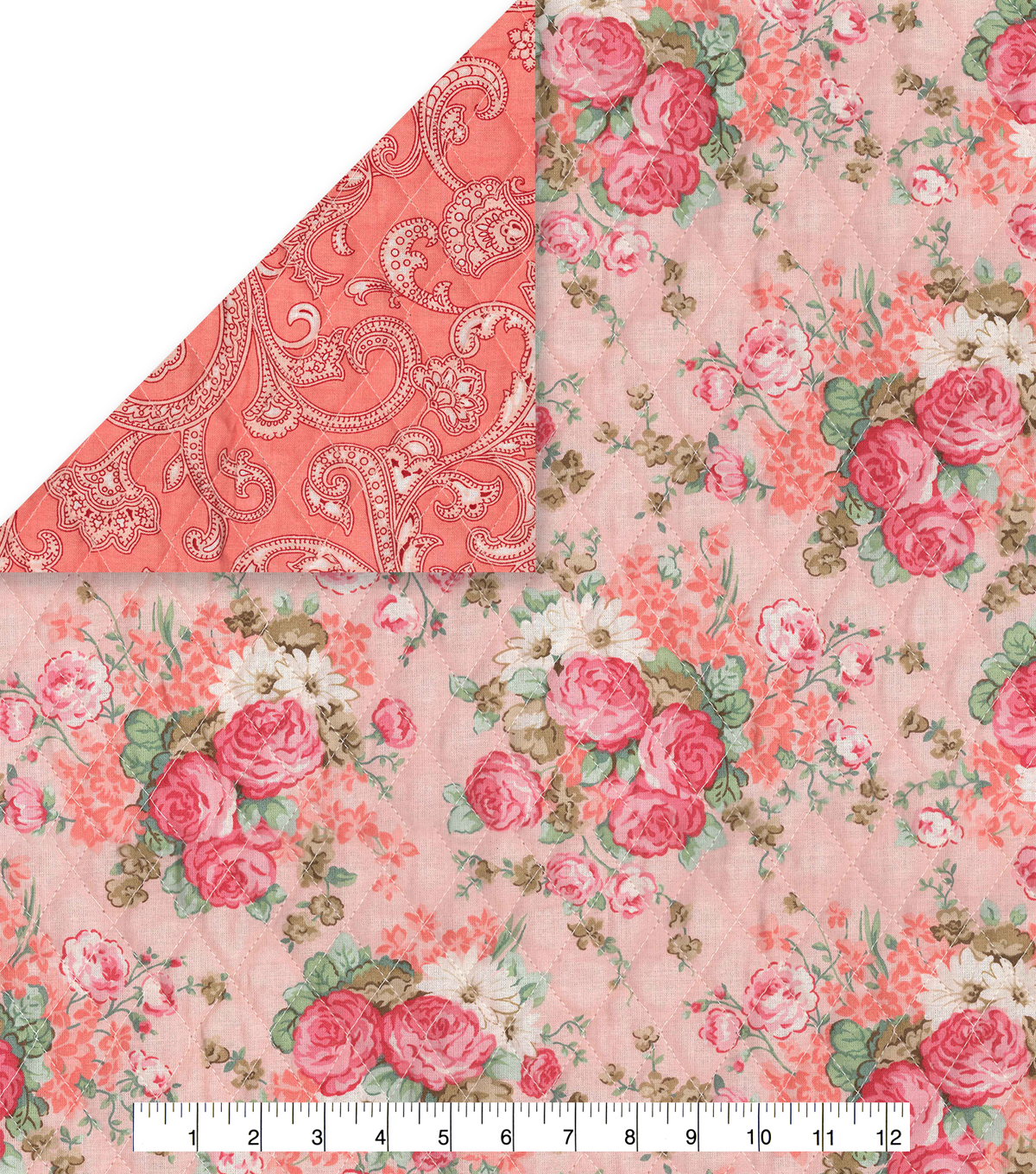 Quilted Fabric Double Faced Pre Quilted Cotton Fabric Vintage Floral