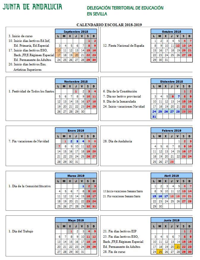 Calendario escolar Sevilla Curso 2018/2019 - #papanoara