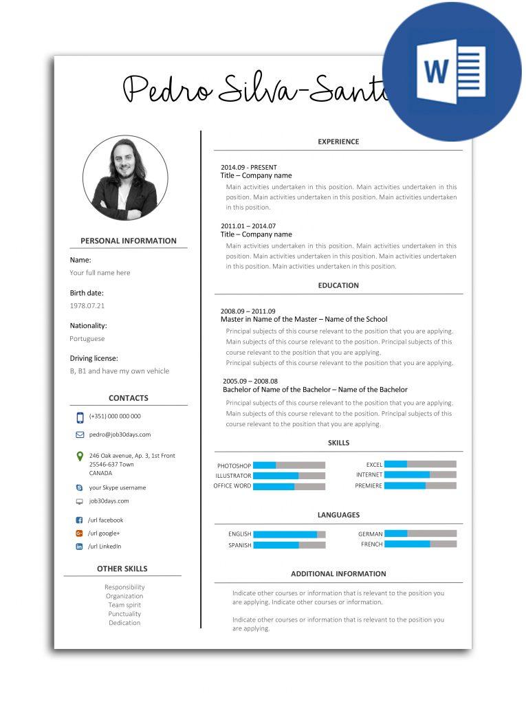 The best CV models fully editable in Word - Job 30 days
