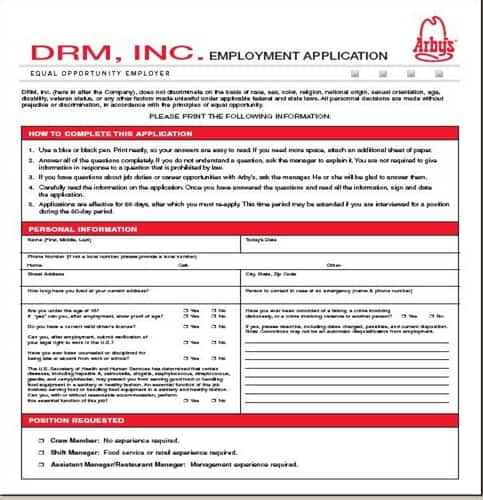 Arbyu0027s Application - Online Job Employment Form - printable application for mployment