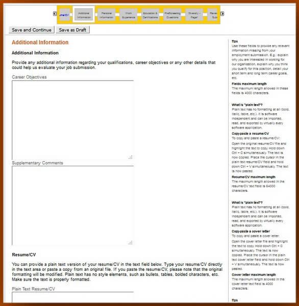 Caterpillar Career Guide \u2013 Caterpillar Application Form - resume additional information