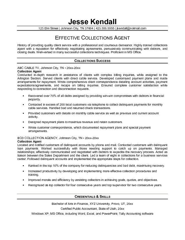 resume for debt collector 3slufsluidsprekers