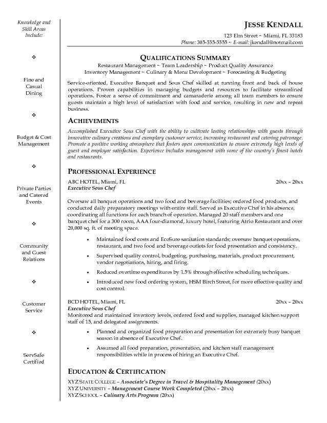 cover letter for restaurant manager trainee sample of a chef cover ...