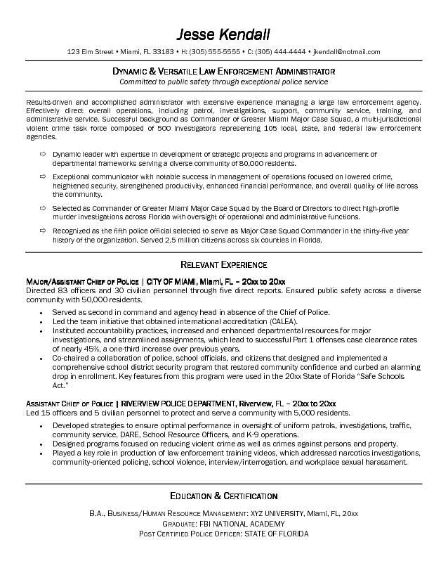 law enforcement sample resume