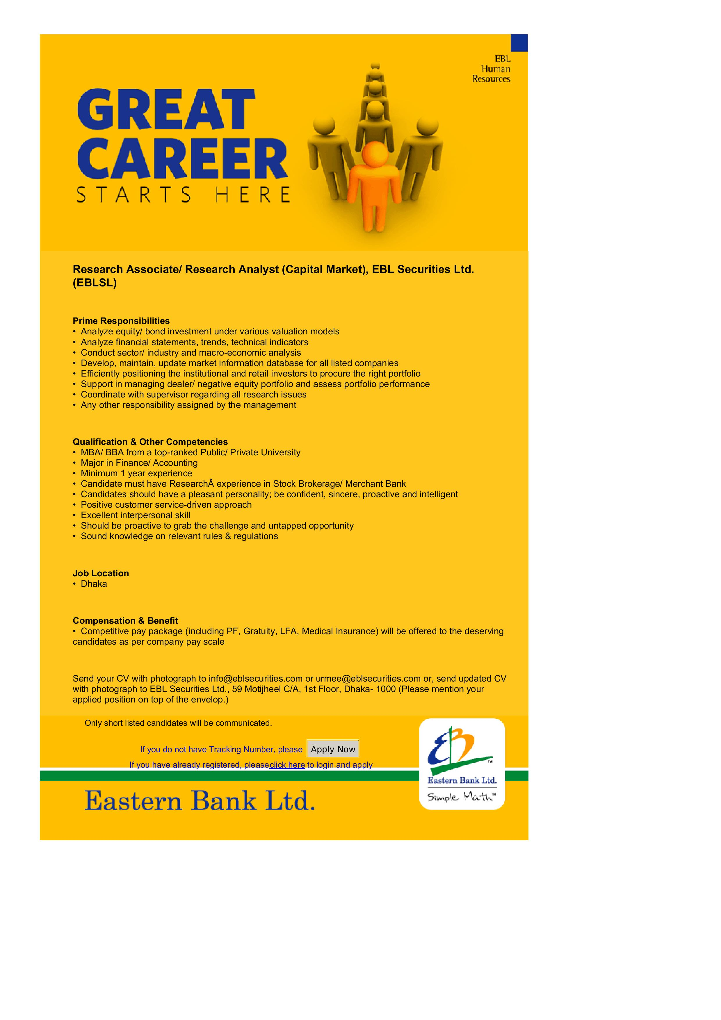 Eastern Bank Job Circular 2016