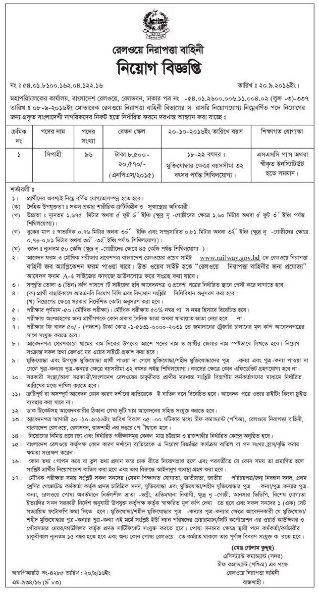 BD Railway 96 Posts Govt Job Circular 2016