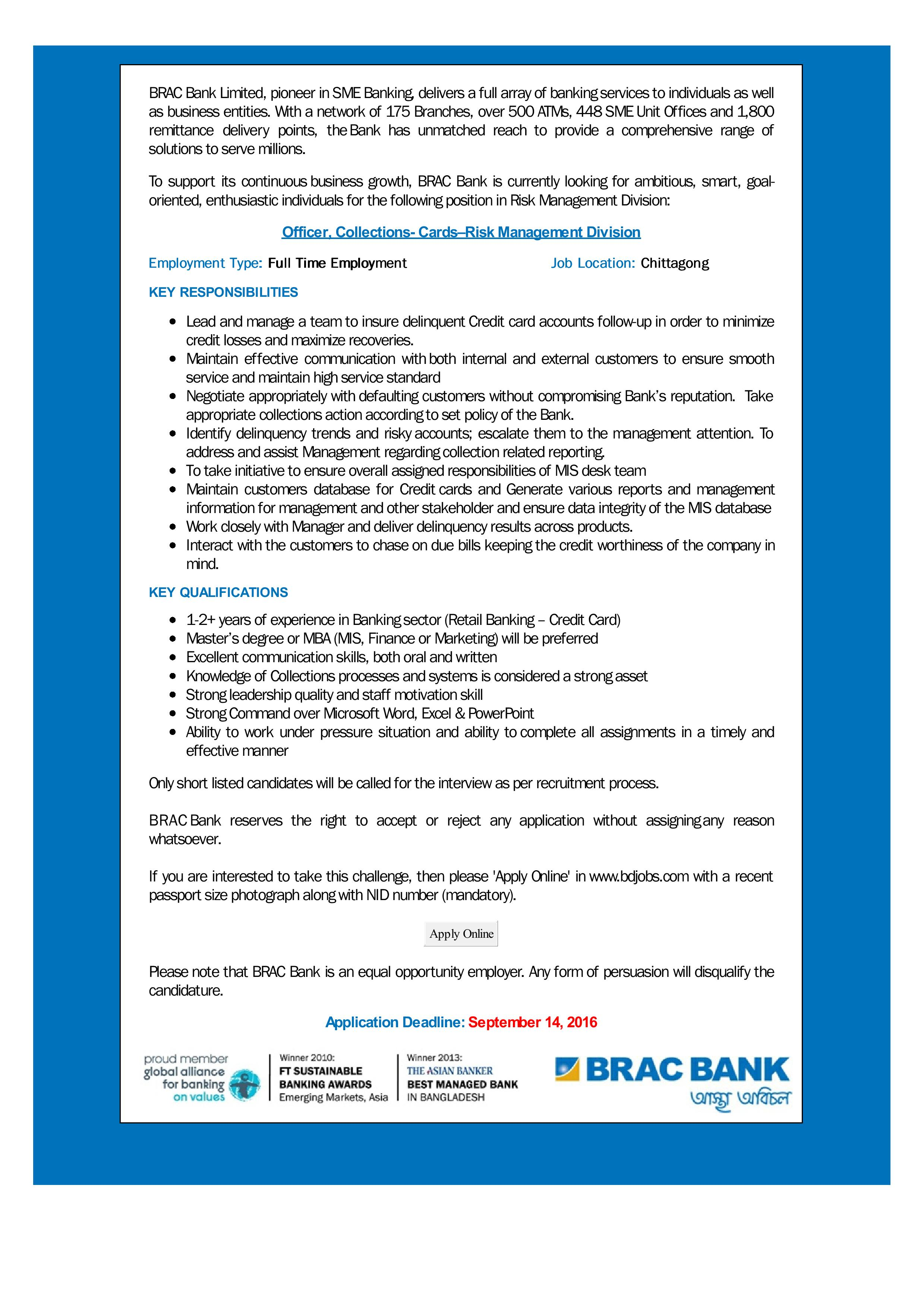 BRAC Bank Limited job circular september 2016