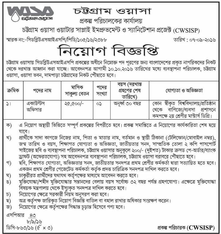 Chittagong WASA Job Circular 2016