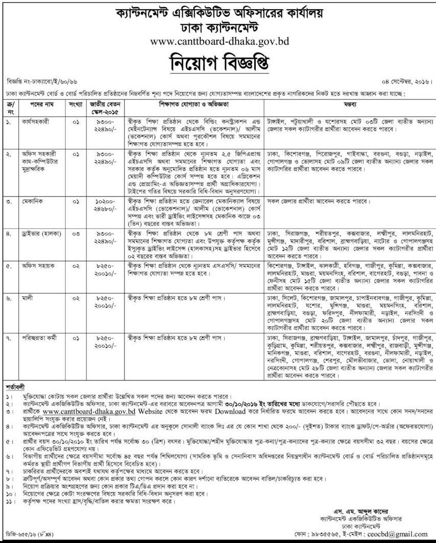 Dhaka Cant Board Govt Job Circular 2016