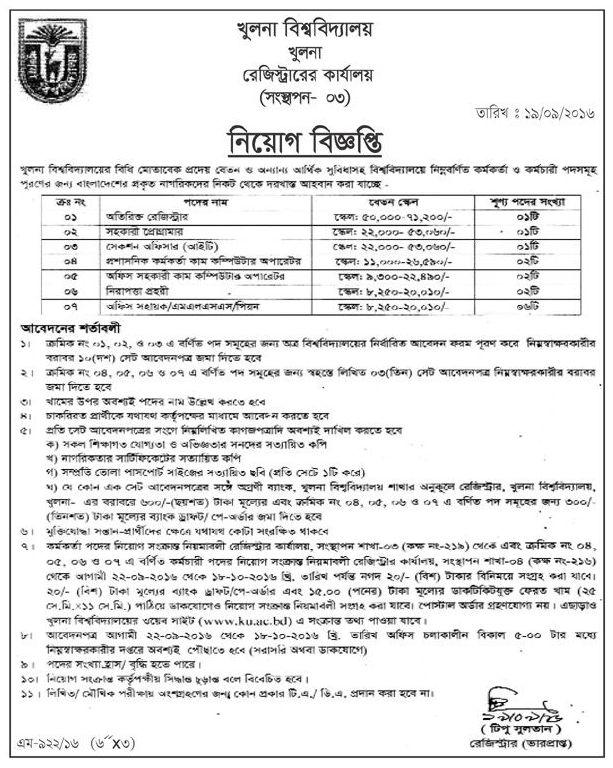 Khulna University Job Circular 2016