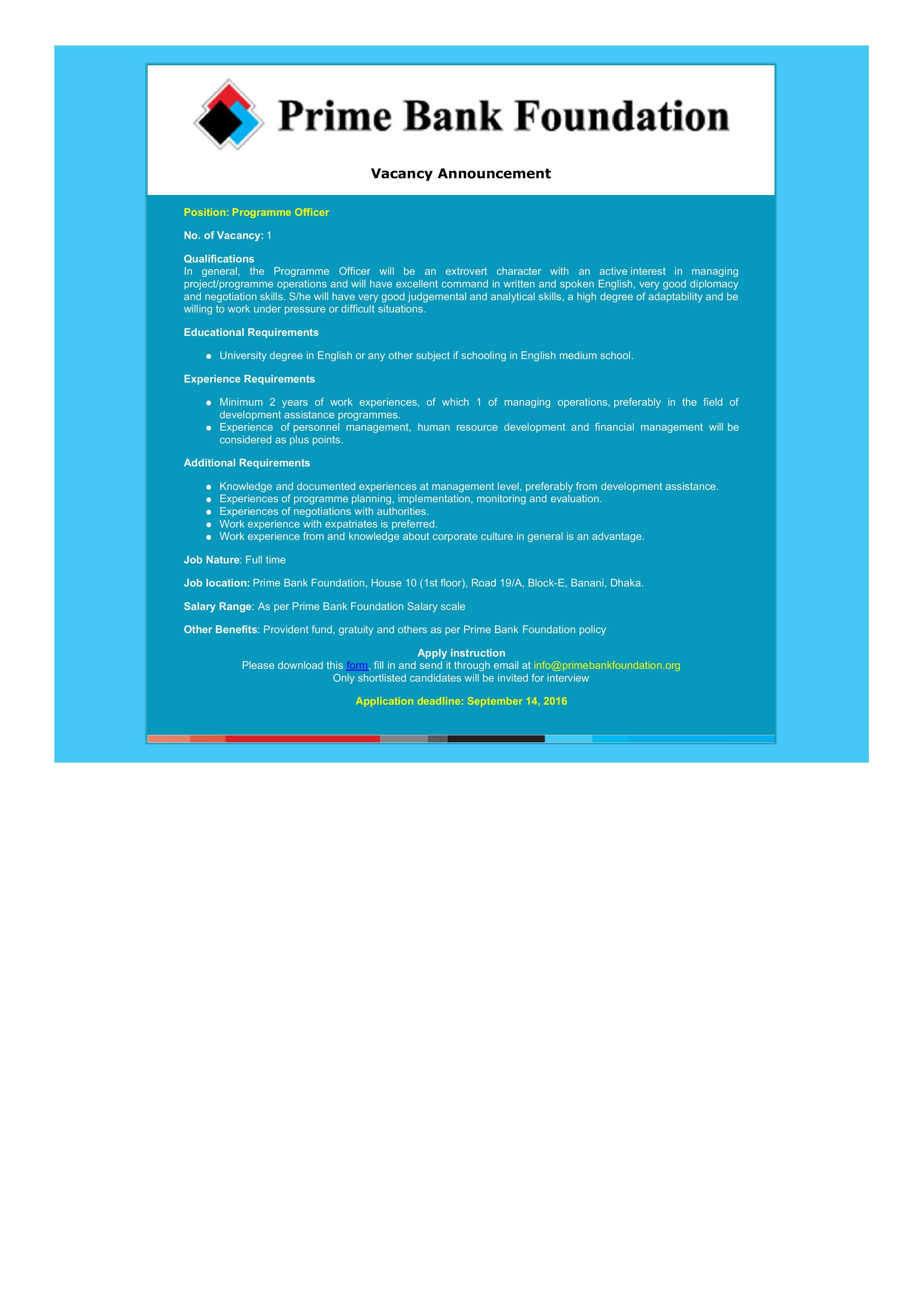 prime bank job circular 2016