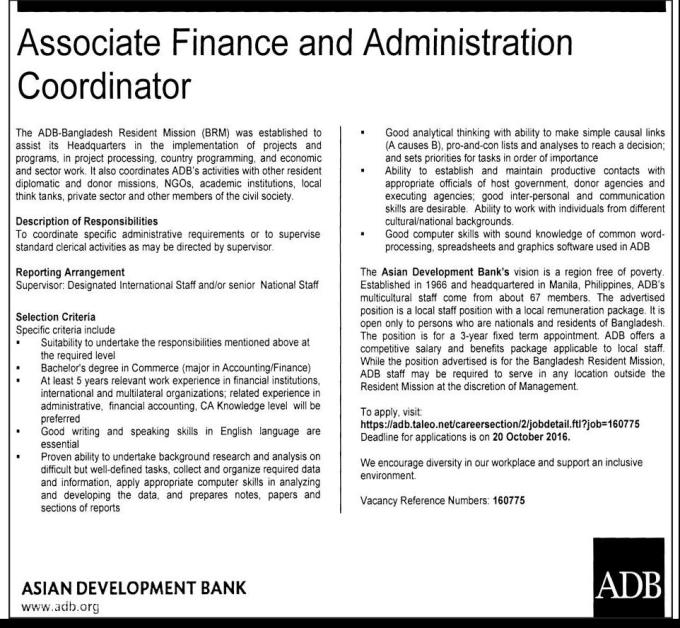 ADB Bank Job Circular October 2016