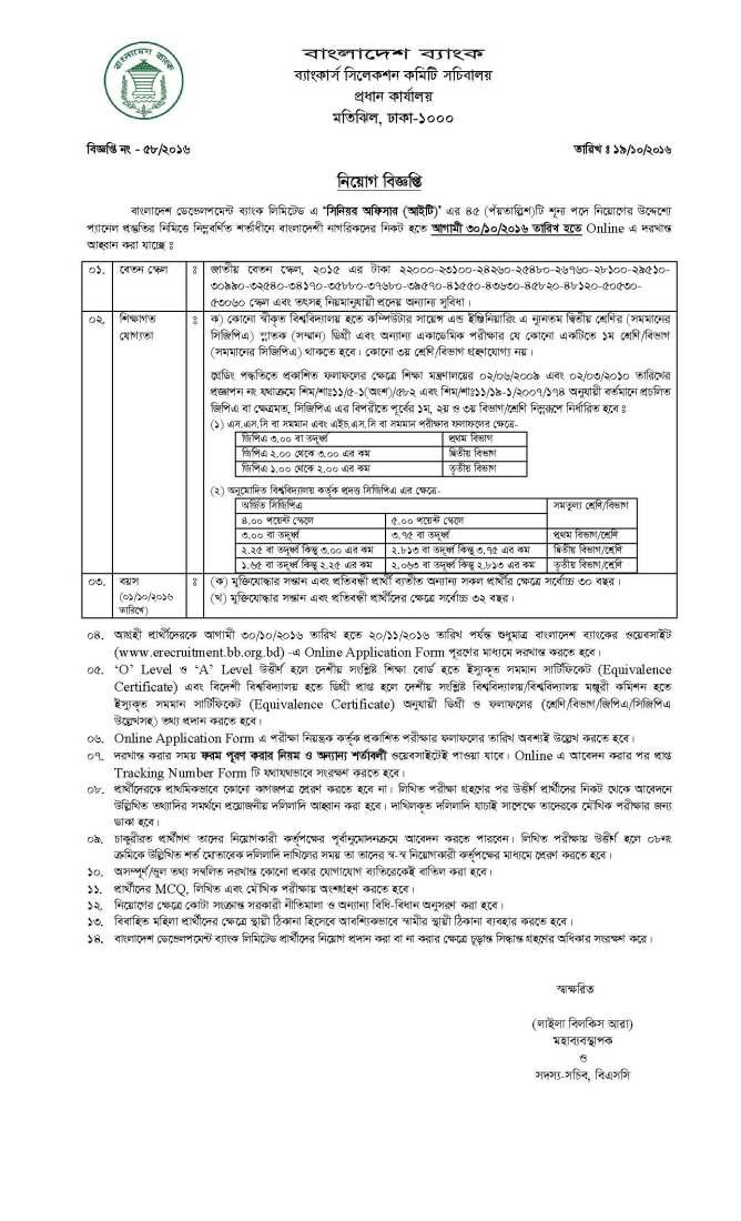 BD Development Bank 45 Posts Job Circular 2016