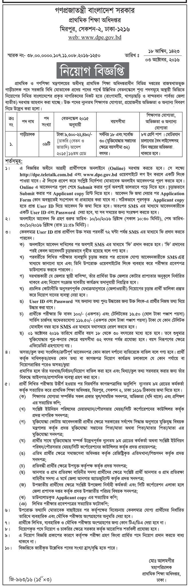 DPE 488 Posts Govt Job Circular 2016