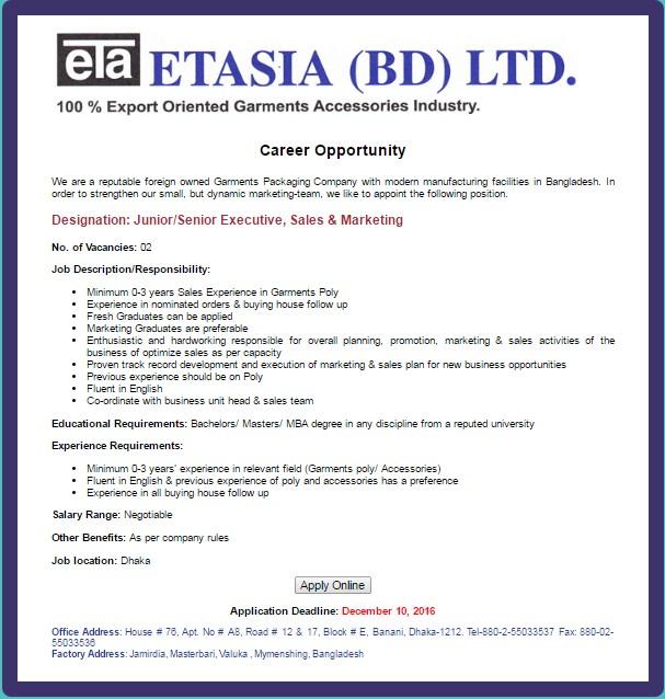 ETASIA job circular November 2016