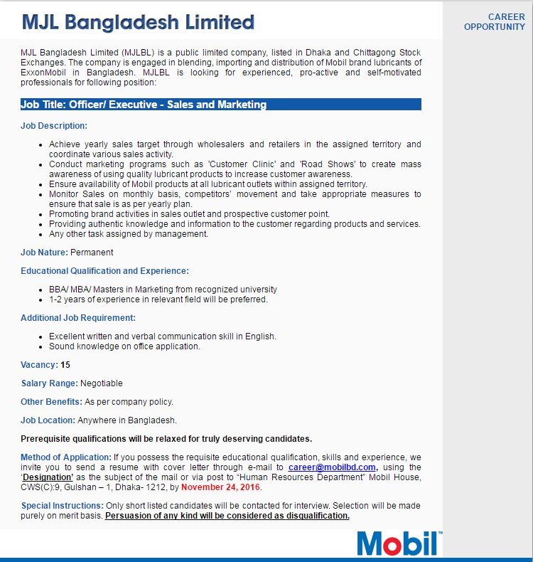 MJLBL job circular in November 2016