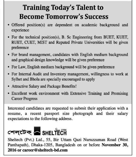 Sheltech job circular in November 2016