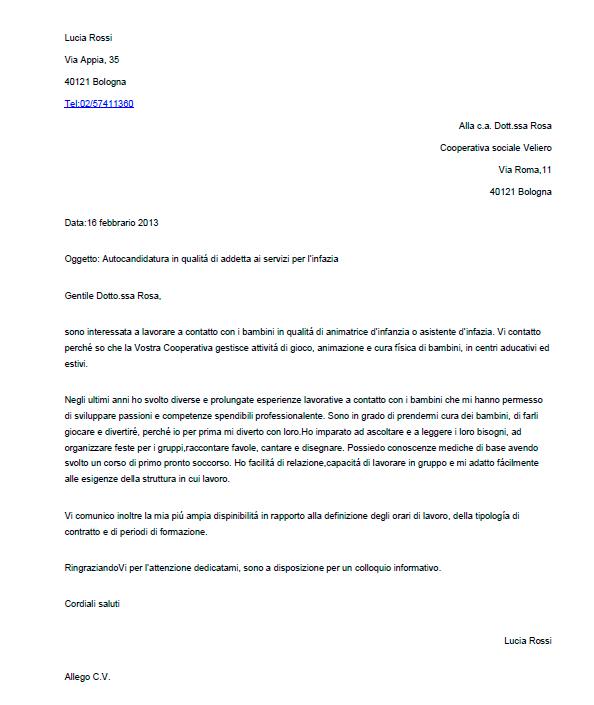 Esempio di lettera di presentazione per un\u0027autocandidatura - Joblers IT