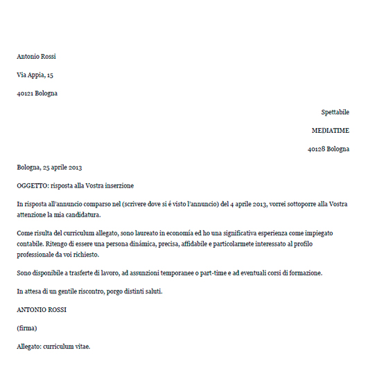 Esempio di lettera di presentazione in risposta ad un\u0027offerta di