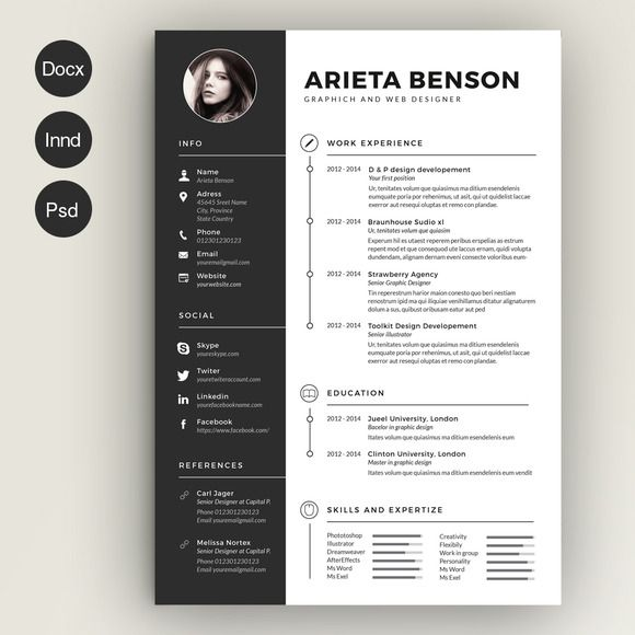 resume template, cv design, psd, photoshop resume, word resume