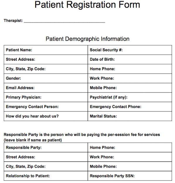Patient Registration Form - JobLoving Your Number One Source