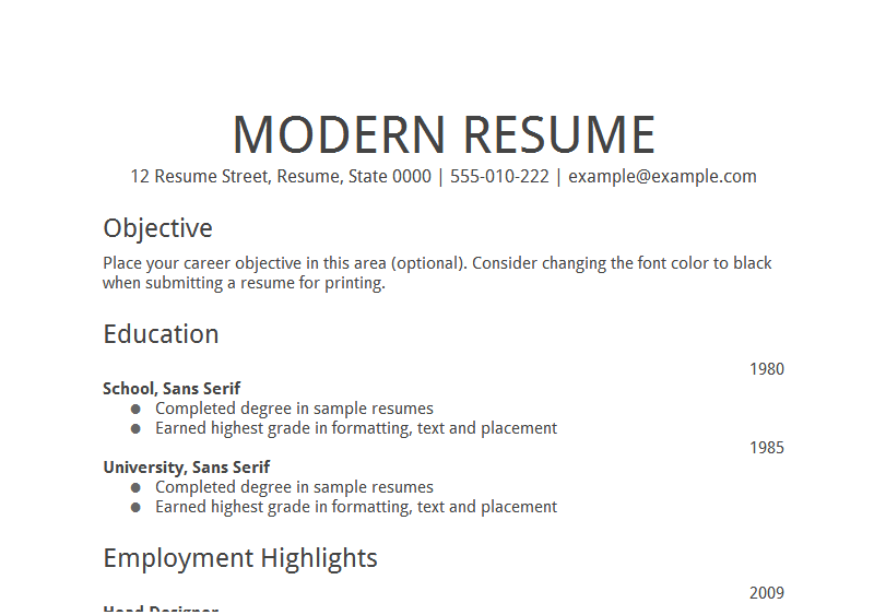 objective format for resume
