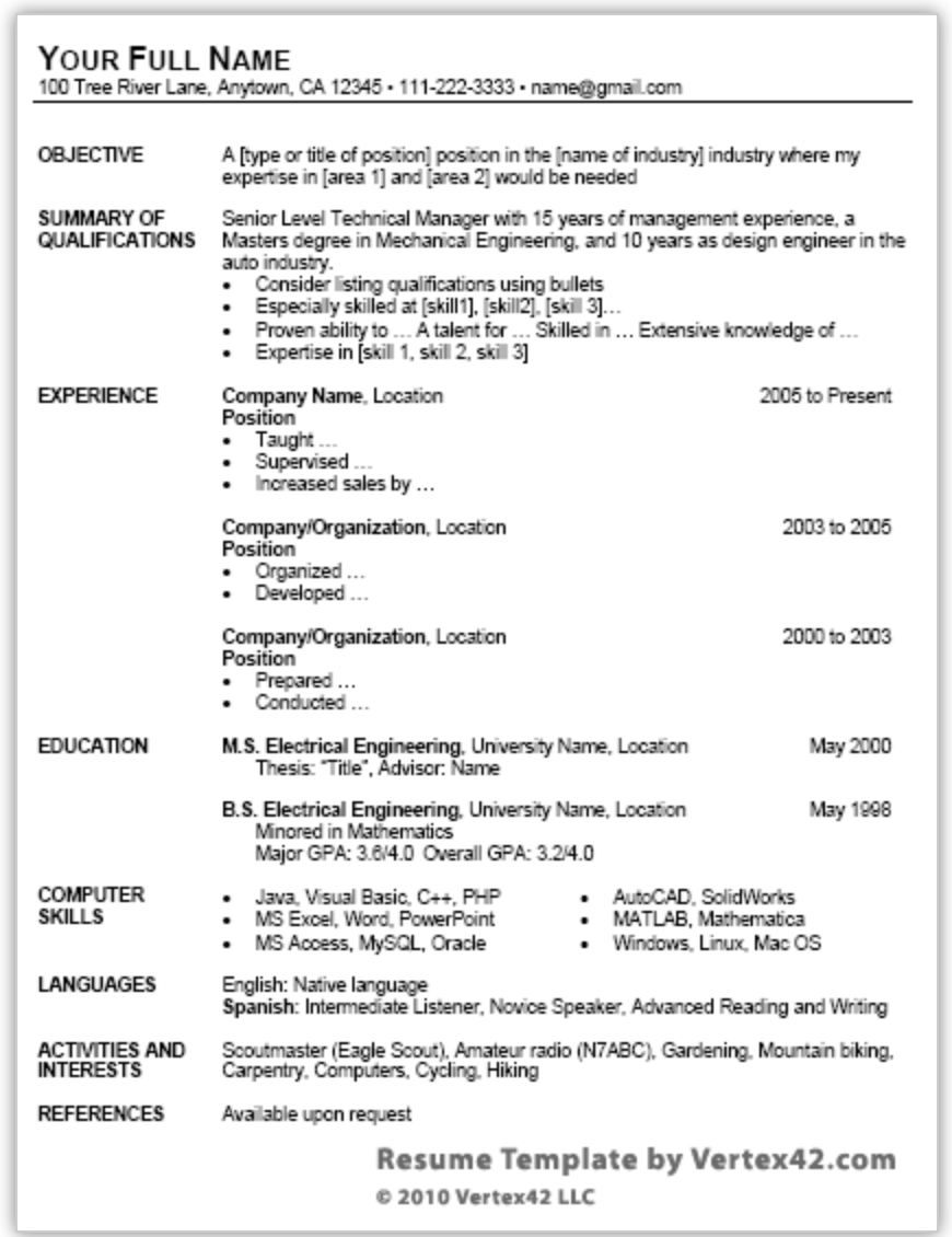 free resume templates microsoft word 2013