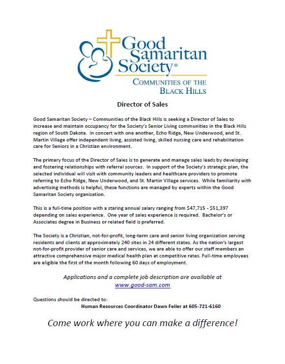 Good Samaritan Society- Sales Director (Rapid City, SD) Jobs 4 - sales director job description