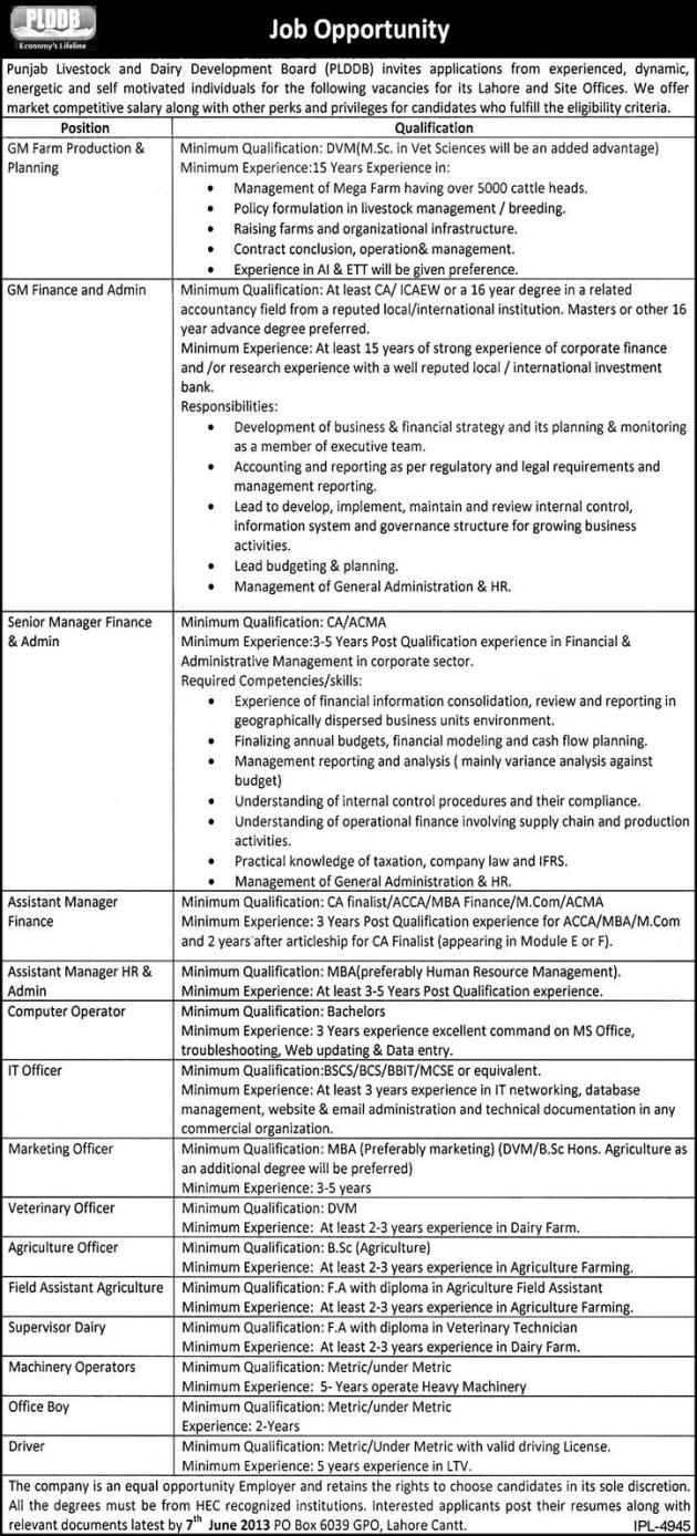 Punjab Livestock & Dairy Development Jobs for General & Marketing Manager Lahore