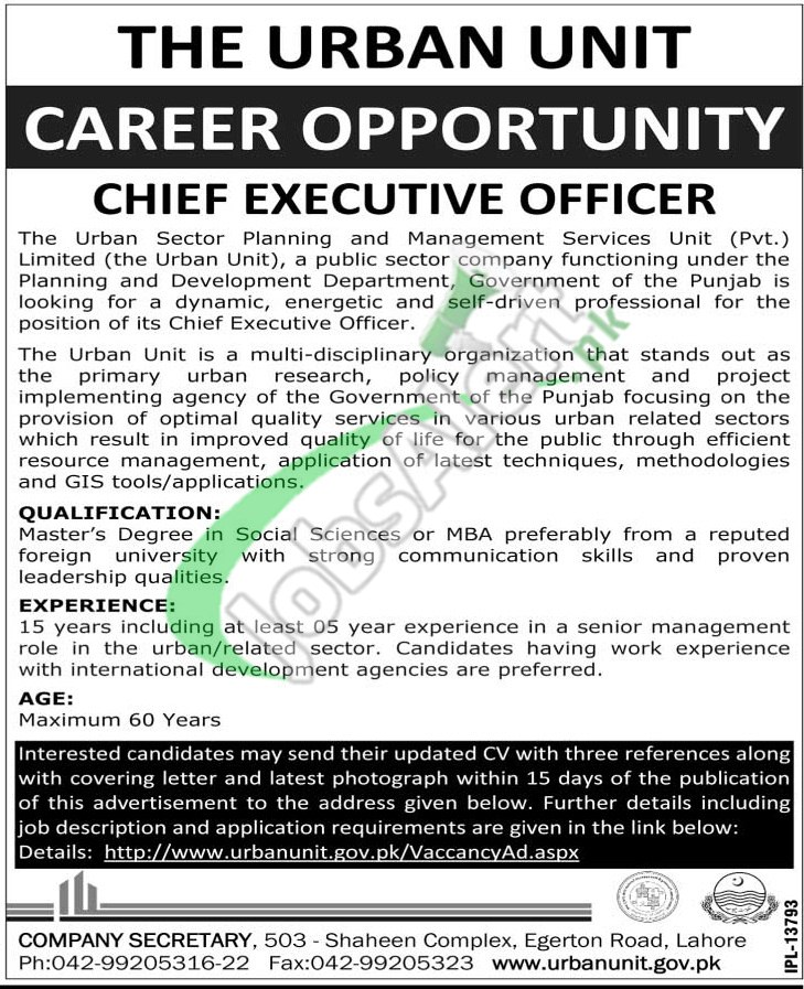 Chief Executive Officer CEO Jobs in Urban Unit Lahore 2015 - chief executive officer job description