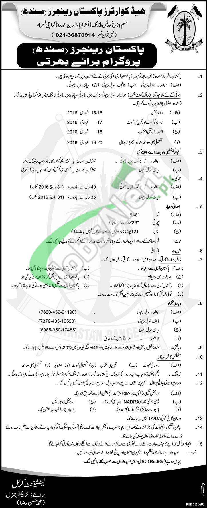 Pakistan Rangers Sindh Jobs Karachi 2016 Registration