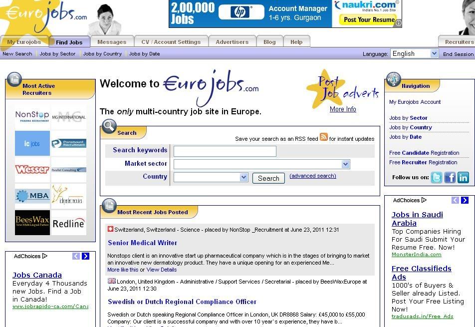 Top Job sites in Europe
