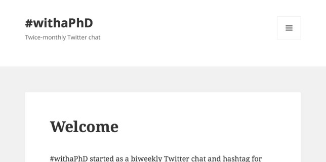 #withaPhD Twitter chat