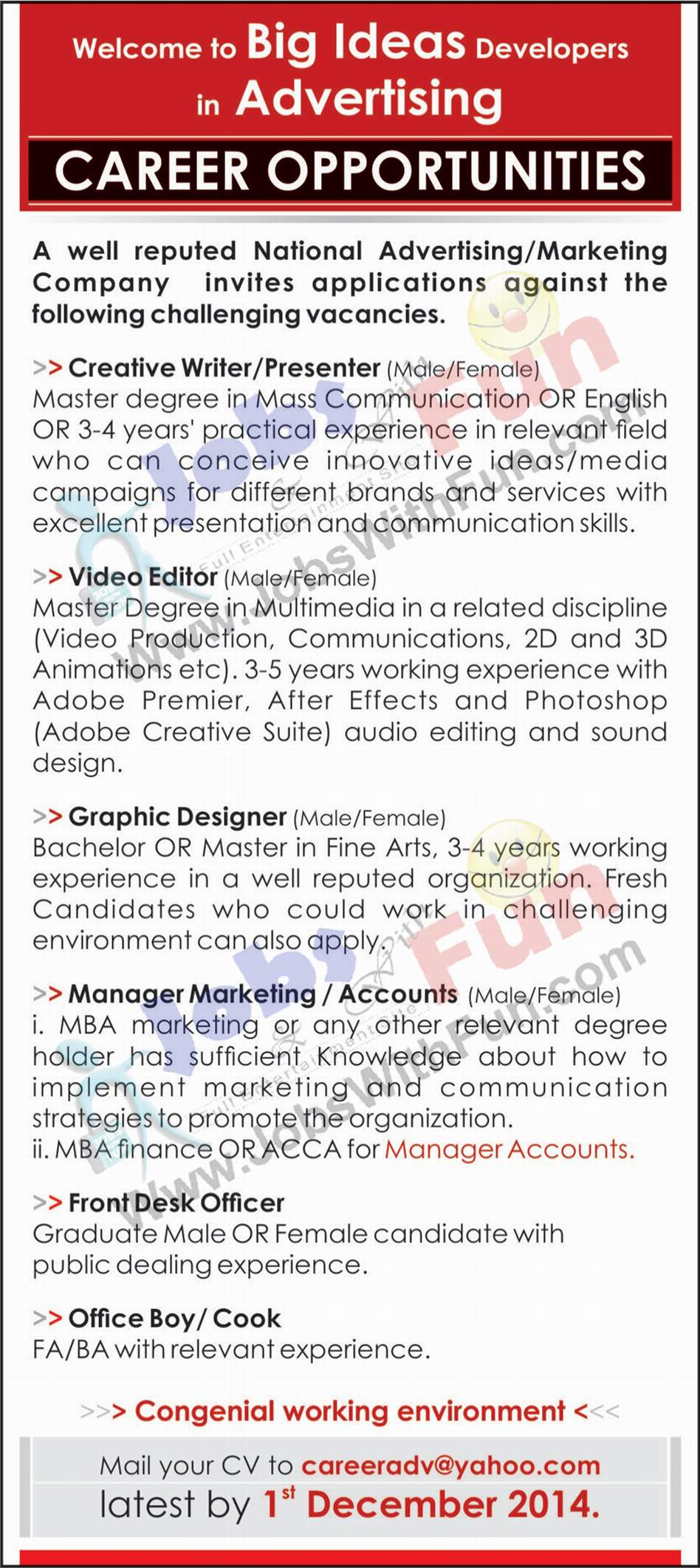 Job Opportunities Vacancies Career Opportunities In Advertising And Marketing Company Jobs