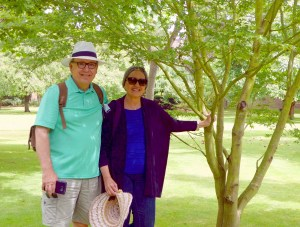 Trip - Don and Kathy in Wadham's garden