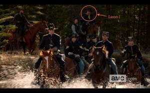 Scene of cavalry fording river from Hell On Wheels Season 3 promotional video.