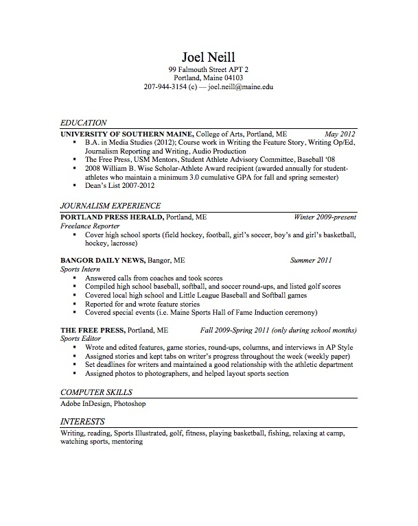 Resume - Joel Neill Sports Journalist